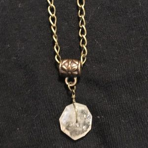 "Rutilated Quartz on 20"" antique brass chain"